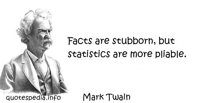Mark Twain - Facts are stubborn, but statistics are more pliable.