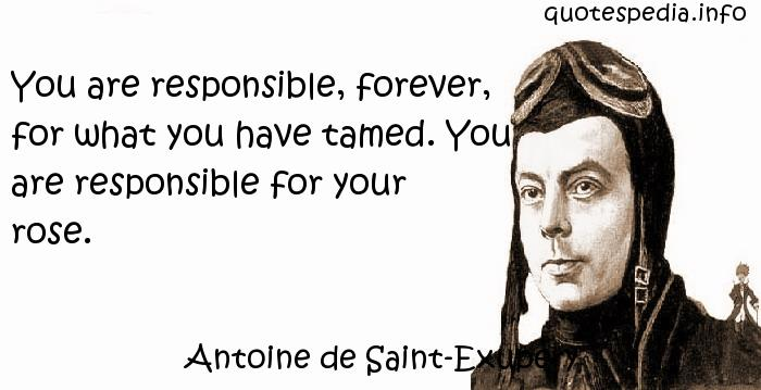 Antoine de Saint-Exupery - You are responsible, forever, for what you have tamed. You are responsible for your rose.