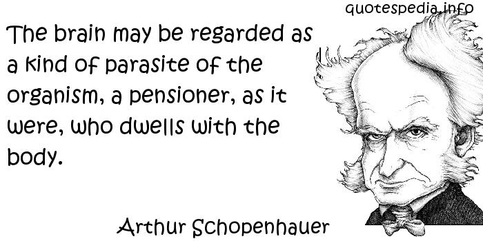 Arthur Schopenhauer - The brain may be regarded as a kind of parasite of the organism, a pensioner, as it were, who dwells with the body.