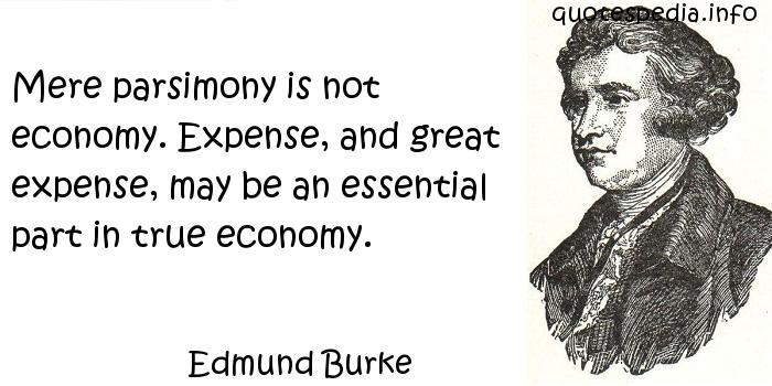 Edmund Burke - Mere parsimony is not economy. Expense, and great expense, may be an essential part in true economy.