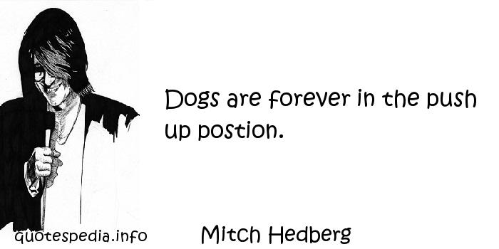 Mitch Hedberg - Dogs are forever in the push up postion.
