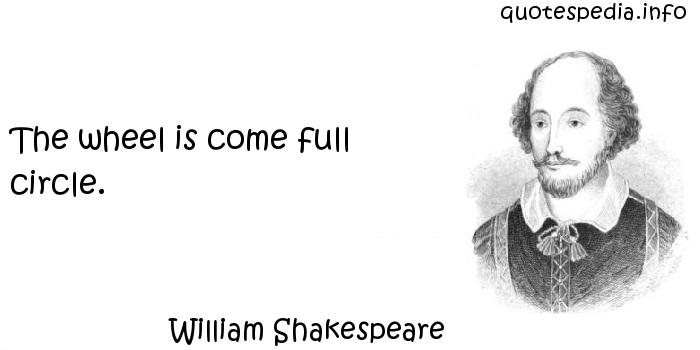 William Shakespeare - The wheel is come full circle.