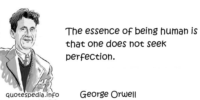 George Orwell - The essence of being human is that one does not seek perfection.