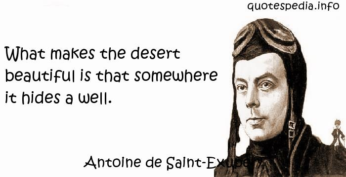 Antoine de Saint-Exupery - What makes the desert beautiful is that somewhere it hides a well.