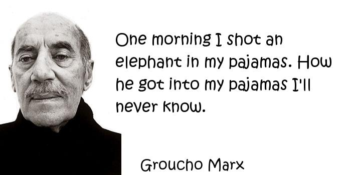 Groucho Marx - One morning I shot an elephant in my pajamas. How he got into my pajamas I'll never know.