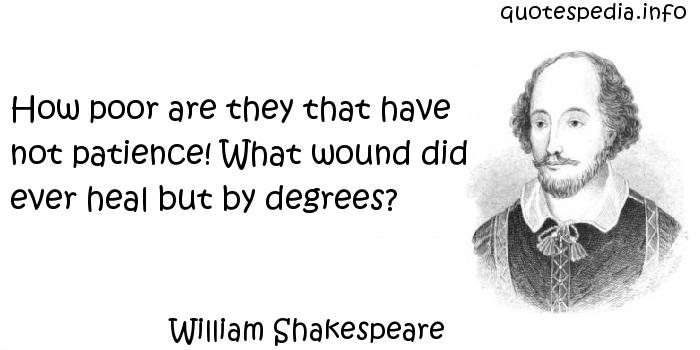 William Shakespeare - How poor are they that have not patience! What wound did ever heal but by degrees?