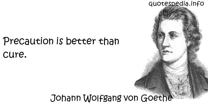 Johann Wolfgang von Goethe - Precaution is better than cure.