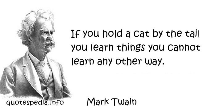 Mark Twain - If you hold a cat by the tail you learn things you cannot learn any other way.