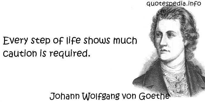 Johann Wolfgang von Goethe - Every step of life shows much caution is required.