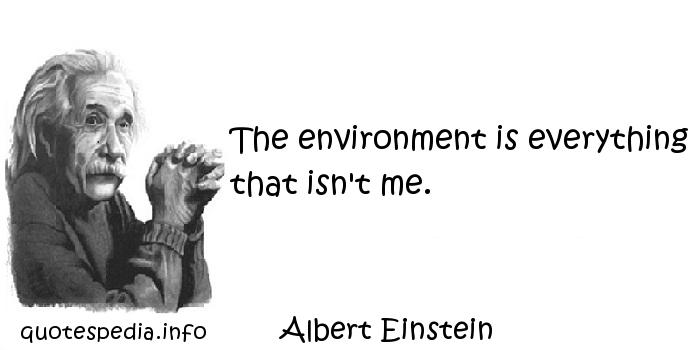 Albert Einstein - The environment is everything that isn't me.