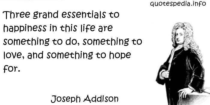 Joseph Addison - Three grand essentials to happiness in this life are something to do, something to love, and something to hope for.