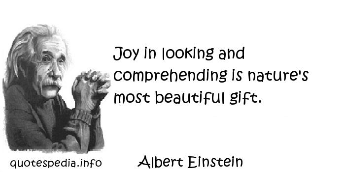 Albert Einstein - Joy in looking and comprehending is nature's most beautiful gift.