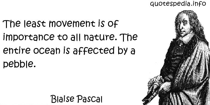 Blaise Pascal - The least movement is of importance to all nature. The entire ocean is affected by a pebble.