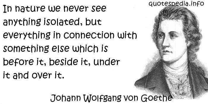 Johann Wolfgang von Goethe - In nature we never see anything isolated, but everything in connection with something else which is before it, beside it, under it and over it.