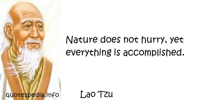 Lao Tzu - Nature does not hurry, yet everything is accomplished.
