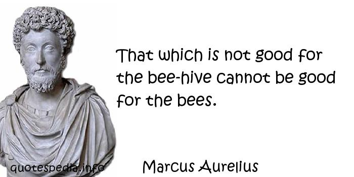 Marcus Aurelius - That which is not good for the bee-hive cannot be good for the bees.