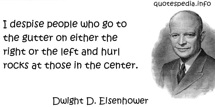 Dwight D. Eisenhower - I despise people who go to the gutter on either the right or the left and hurl rocks at those in the center.